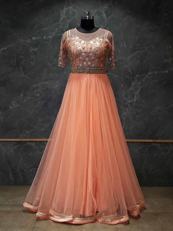 Bright Orange Net Gown