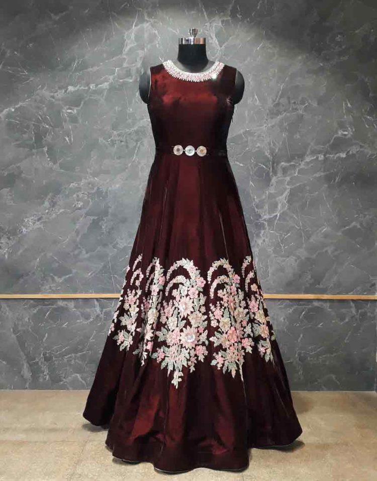 Wine Velvet Gown