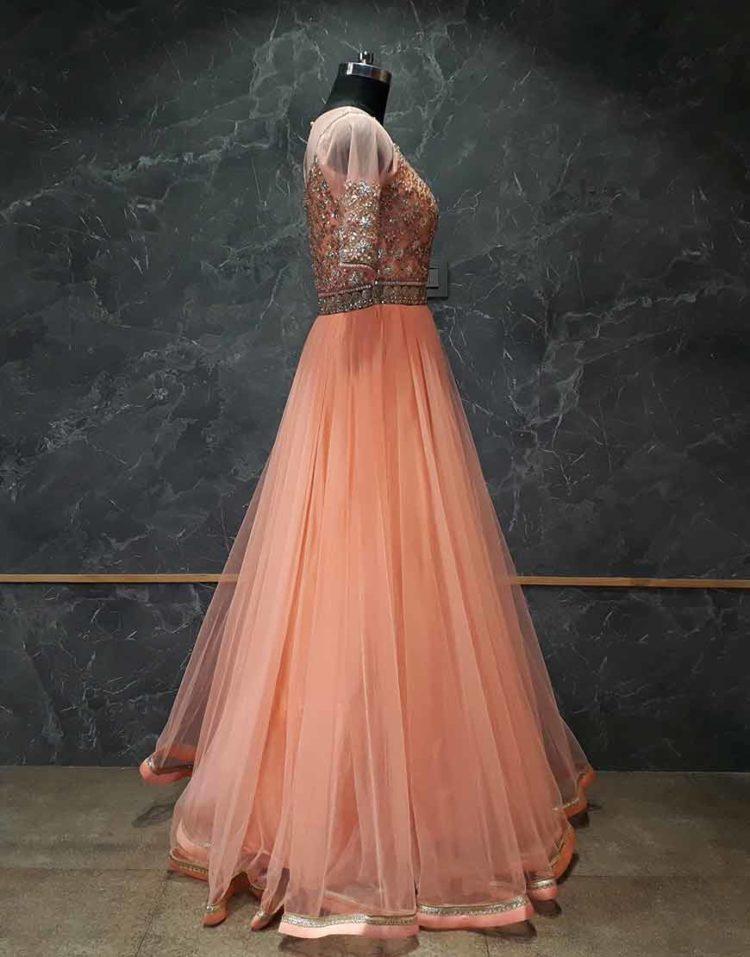 Bright Orange Net Gown