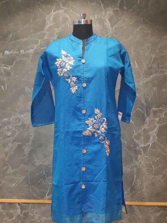 Plain Blue kurti-Panache