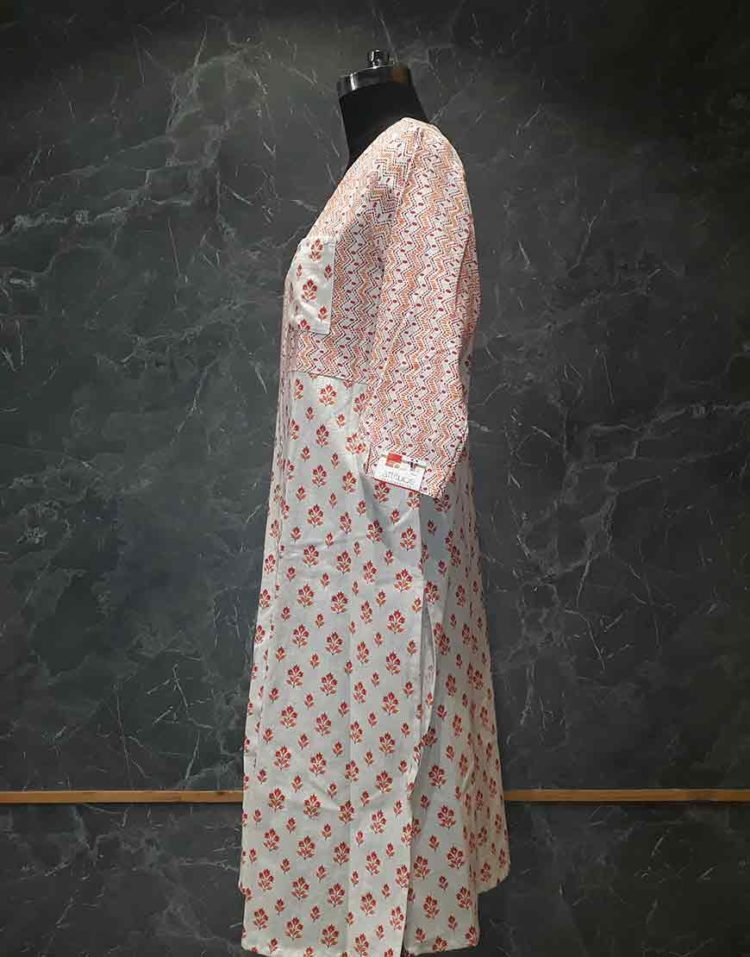 Printed linen kurti