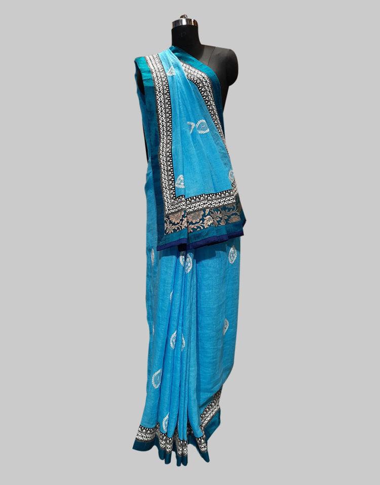 Ocean Blue Linen cotton saree with thread work