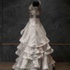 Off white Gown with Golden Fall print