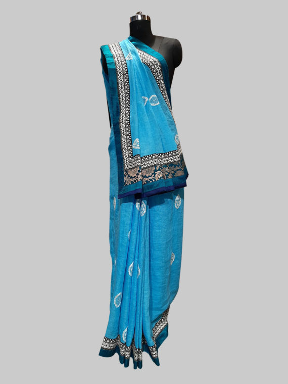 Ocean Blue Linen cotton saree with thread work